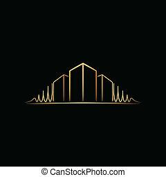 logotipo, encima, arquitecto, negro