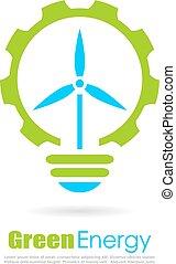 logotipo, energía, vector, verde