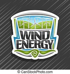 logotipo, energia, vetorial, vento