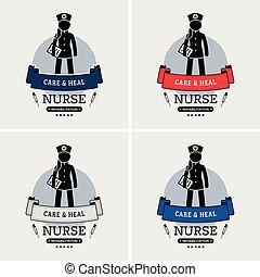 logotipo, enfermeira, design.