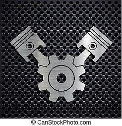 logotipo, engine., metallico, automobilistico, appartamento