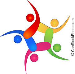 logotipo, equipe, 5, swooshes