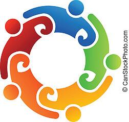 logotipo, equipe, 5, voluntário