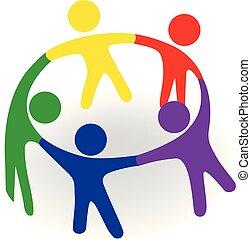 logotipo, equipe, abraço, grupo, pessoas