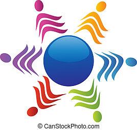 logotipo, equipe, ao redor, mundo