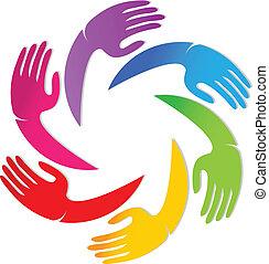 logotipo, equipe, junto, mãos