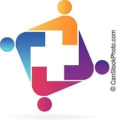 logotipo, equipe médica