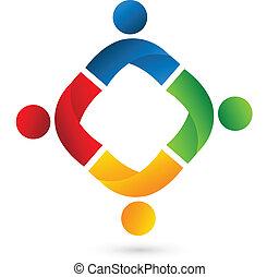 logotipo, equipe, pessoas, aplicação