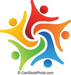 logotipo, equipe, sucesso, 6