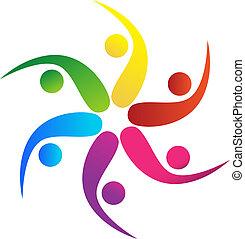 logotipo, equipe, vetorial, 5, swooshes