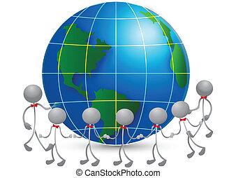logotipo, equipo, alrededor, mundo