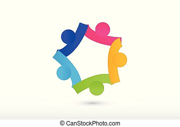 logotipo, equipo, manos de valor en cartera, colaboración, y, porción, gente