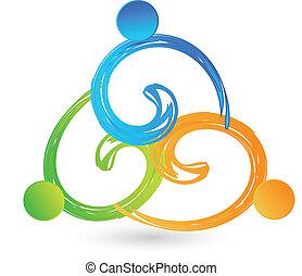 logotipo, equipo, manos, tenencia, swooshes
