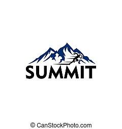 logotipo, escalar montanha