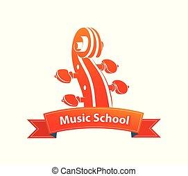 logotipo, escola, emblema, música