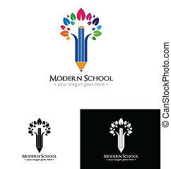 logotipo, escola, modernos, modelo