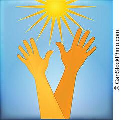 logotipo, esperançoso, mãos