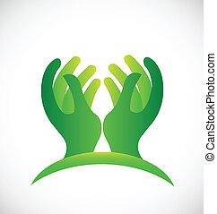 logotipo, esperançoso, verde, mãos