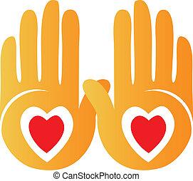 logotipo, esposizione, mani, cuori