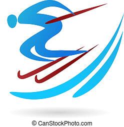 logotipo, esquí, /, icono