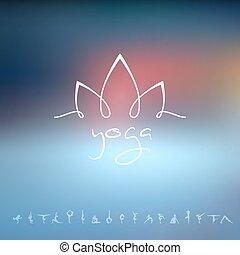 logotipo, estúdio ioga