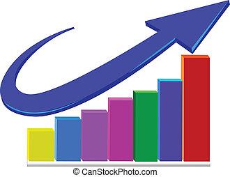 logotipo, estatísticas, negócio, seta