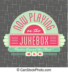 logotipo, estilo, desenho, 1950s, jukebox