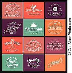 logotipo, estilo, projeto fixo, retro