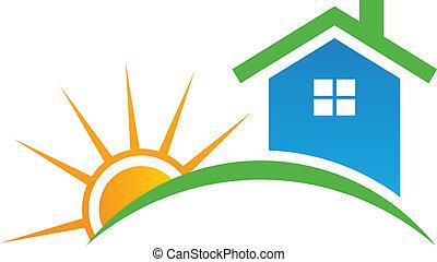 logotipo, estilo, sol, casa