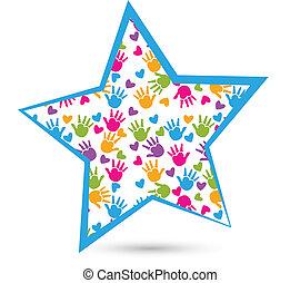 logotipo, estrela, crianças, mãos