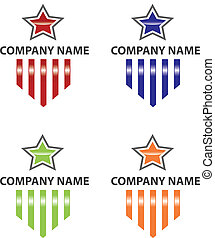 logotipo, estrela, listras