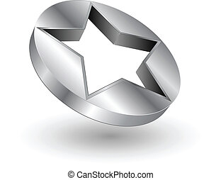logotipo, estrela, metálico