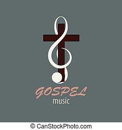 logotipo, evangelio, música