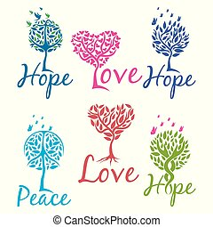 logotipo, fé, amor, árvore, esperança