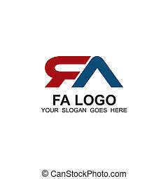 logotipo, fa, diseño, carta, inicial, plantilla