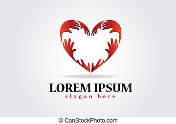 logotipo, fabbricazione, mani, cuore