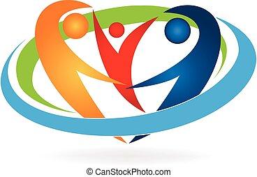 logotipo, famiglia felice