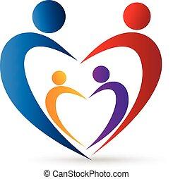 logotipo, familia , unión, en, un, corazón