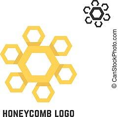 logotipo, favo mel, semelhante, sol amarelo