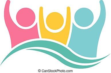 logotipo, feliz, desenho, família, pessoas