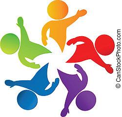 logotipo, feliz, estrella, alrededor, gente