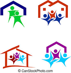 logotipo, feliz, família nova, casa