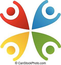 logotipo, feliz, gente, trabajo en equipo