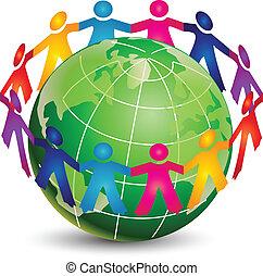 logotipo, feliz, pessoas, ao redor, mundo