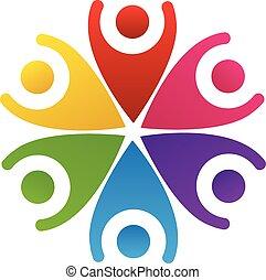 logotipo, feliz, pessoas, trabalho equipe
