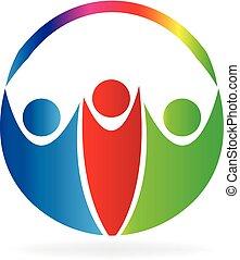 logotipo, feliz, pessoas
