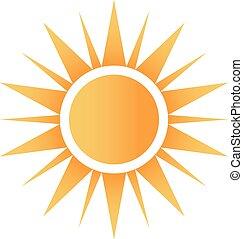 logotipo, feliz, sol