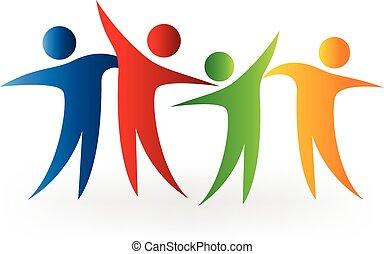 logotipo, feliz, sucesso, pessoas
