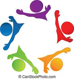 logotipo, feliz, trabalho equipe, pessoas negócio