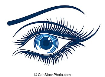 logotipo, femininas, eye.
